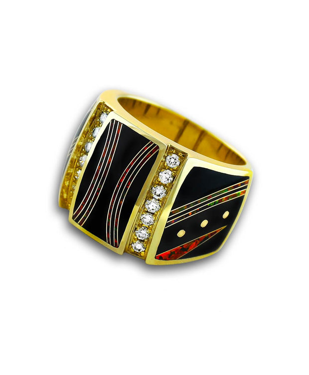 Santa Fe Native American Jewelry Black Jade and Opal Ring for Men