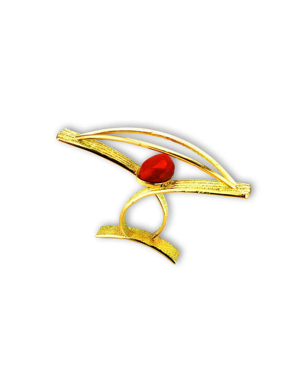 Michael Roanhorse Santa Fe Native American Jewelry makes an amazing Gold Ring with Red Coral.