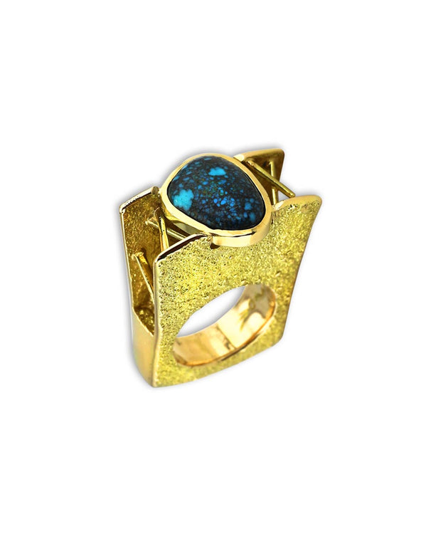 Michael Roanhorse Santa Fe Native American Jewelry Architectural Gold Ring with Turquoise.