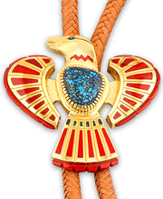Vernon Haskie Santa Fe Native American Jewelry 22k Gold Bolo with blue Turquoise close up shot.