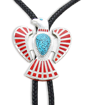 Vernon Haskie Silver Eagle Bolo Tie With Turquoise And Red Coral