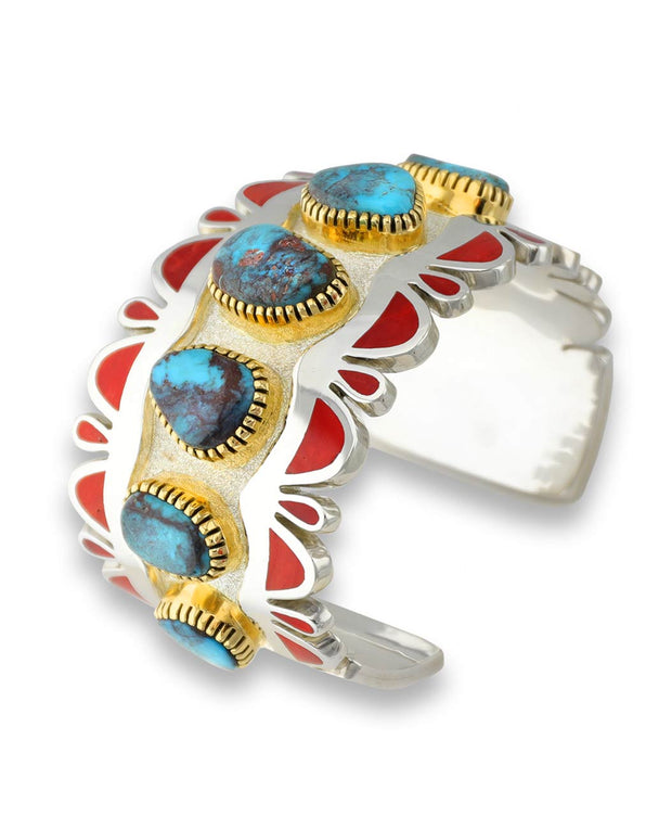 Vernon Haskie Santa Fe Native American Jewelry 18k Gold Turquoise Coral Cuff.