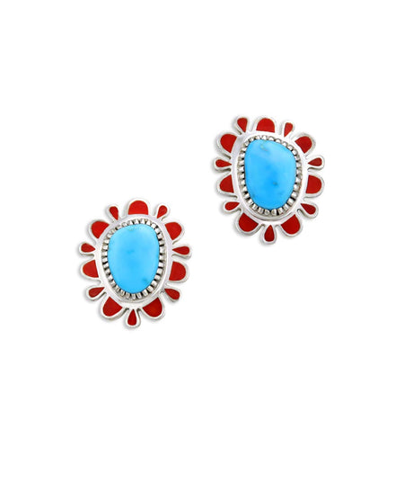 Vernon Haskie Santa Fe Native American Jewelry turquoise Cabochon earrings.