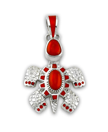 A coral turtle pendant made by Vernon Haskie Native American Jewelry