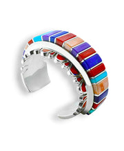 Vernon Haskie Santa Fe Native American Jewelry Sterling Silver and Multi-stone inlay cuff.