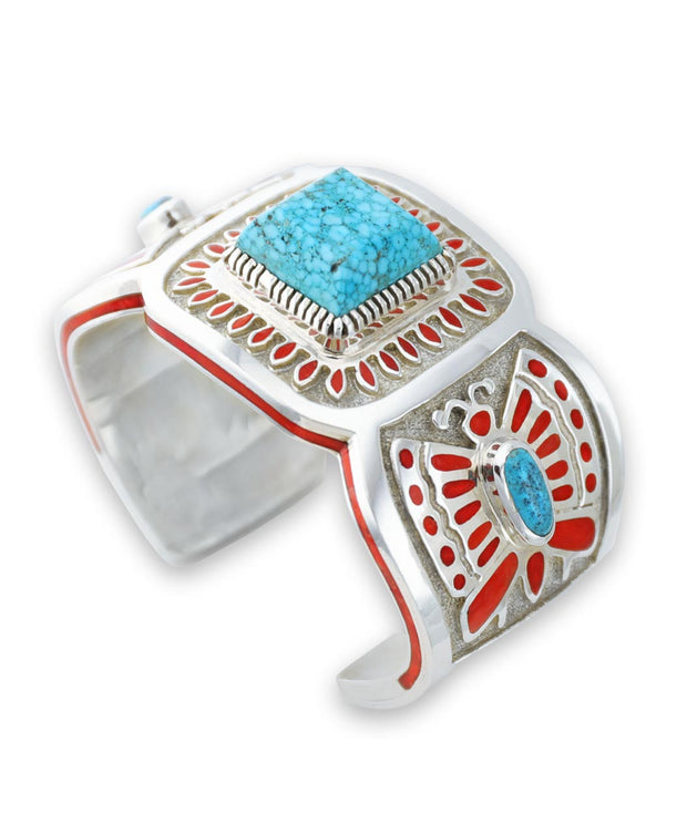 Vernon Haskie Santa Fe Native American Jewelry sterling silver turquoise and coral butterfly cuff.
