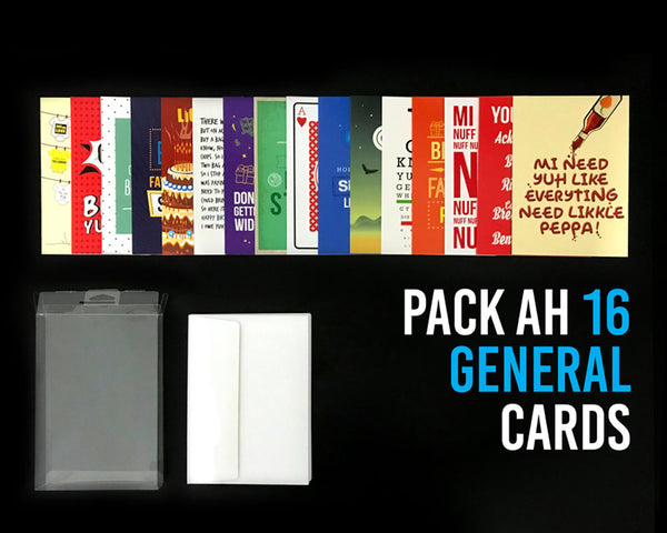 Pack Ah 16 Jamaican General Greeting Cards