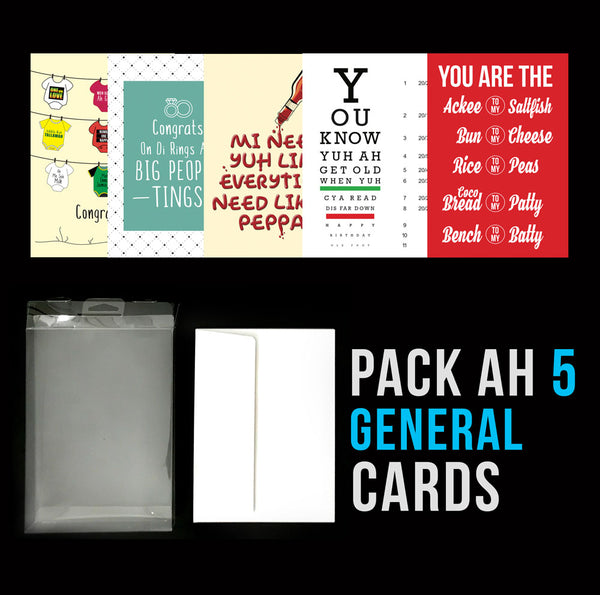 Pack Ah 5 Jamaican General Greeting Cards