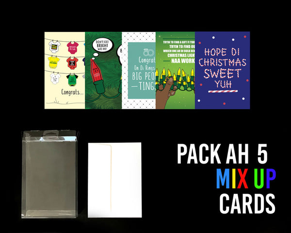 Pack Ah 5 Jamaican Mix Up Greeting Cards