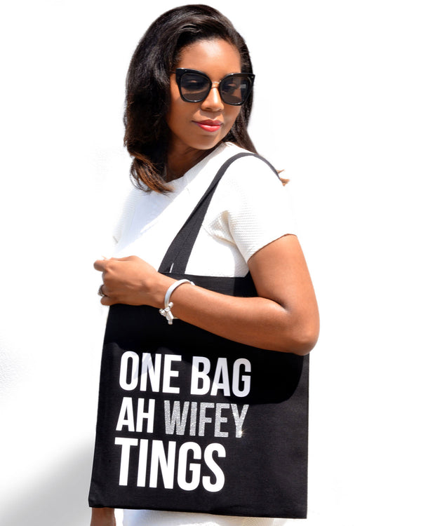 One Bag Ah Wifey Tings - Silver Glitter/White Text