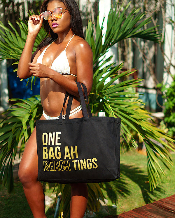 Black & Gold Beach Bag