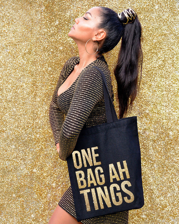 Black & Gold Glitter 'One Bag Ah Bling'