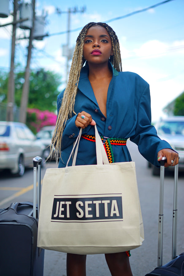 Jet Setta Travel Tote Bag - Natural/Black