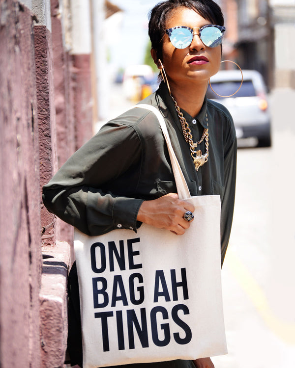 Natural & Solid Black 'One Bag Ah Tings'