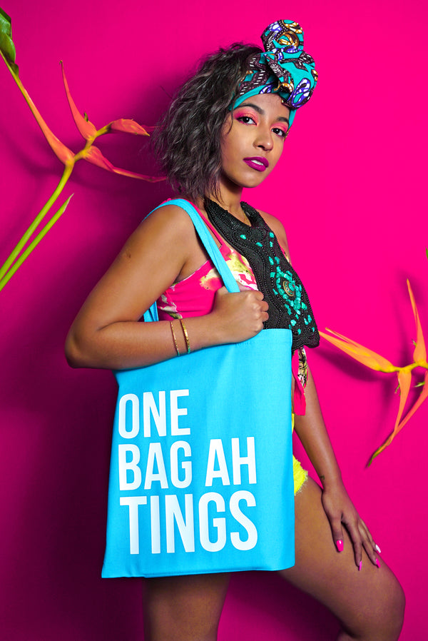 Turquoise & White 'One Bag Ah Tings'