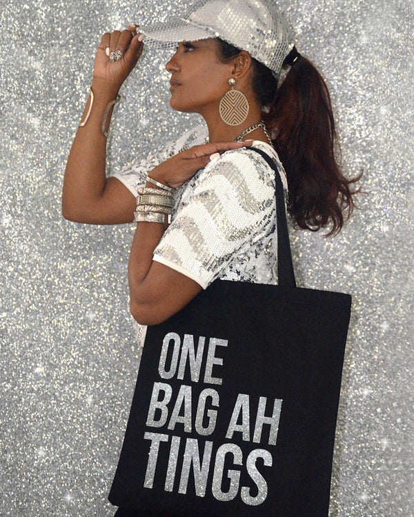Black & Silver Glitter 'One Bag Ah Bling'