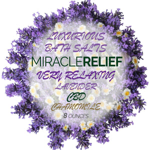 Miracle Relief - Luxurious 100% Organic Fizzy Bath Salts in Gift Jar - 250mg CBD Hemp Oil, Lavender and Chamomile Flowers - Great for bathing or skin scrub