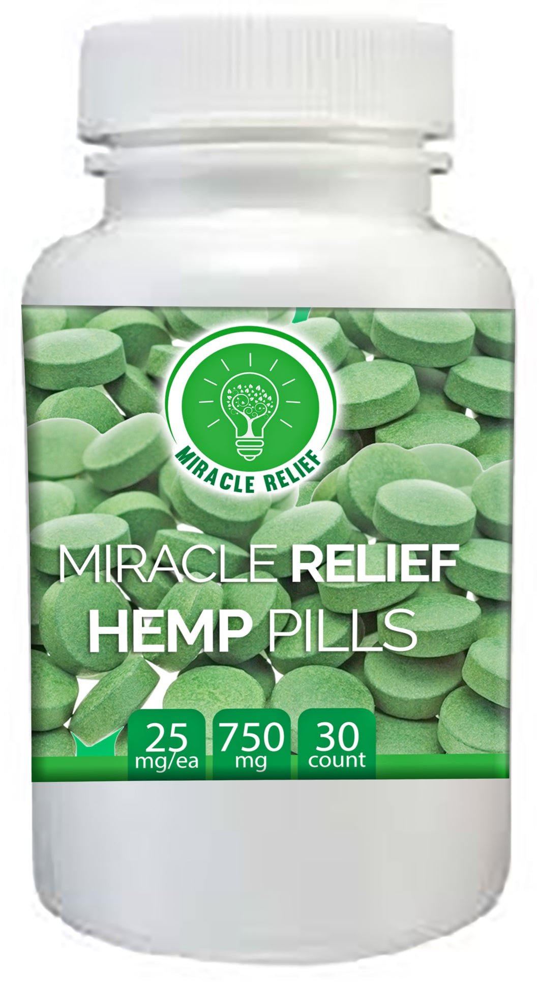 Hemp Supplement Pressed Tablets- Known to Help Ease Anxiety, Sleeplessness, Joint Pain - 25mg each - 30 count - 750mg total CBD For You - Miracle Relief Club