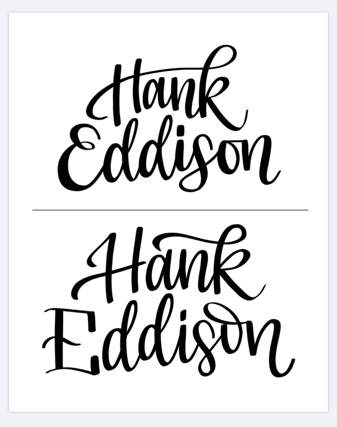 Custom Hand Lettered Word cutouts