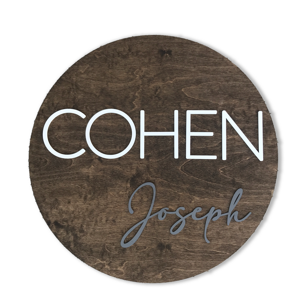 3D Round Nursery Name Sign