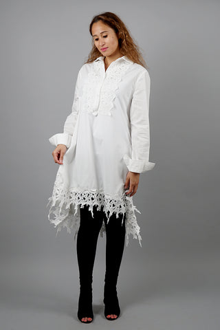 White Tunic With Lace Details قمم