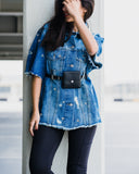Crystal ripped Belted Denim Jacket