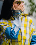 قميص قطني مع أكمام جينز ترتر Yellow Plaid Shirt with Ombre sleeves CSSSF08/21010