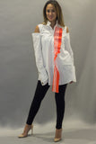 Cold Shoulder With Orange Ruffles & Embed Loop