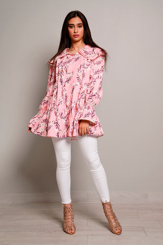 Floral Print Ruffle detailed Top