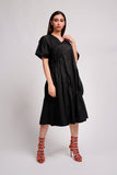 V NECK SHORT SLEEVES DRESS فستان