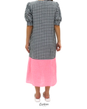 فستان قطني طويل Checker puff Sleeves Dress CSSSF01/21023