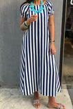 Off Shoul Blue Stripe Maxi فستان