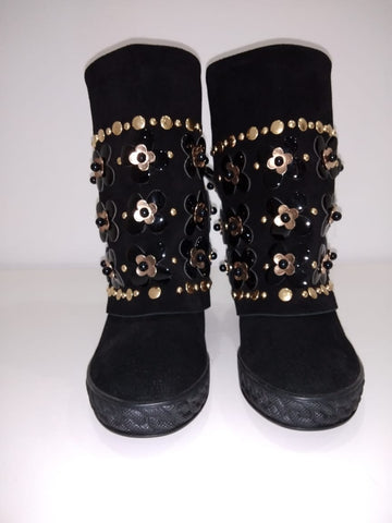 Mid-Calf Embellished Boots