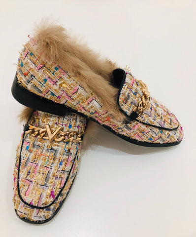 Muilt-Tweed With Fur Loafer