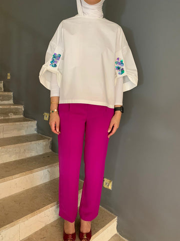 White Top W/Pleated Slim Pants طقم