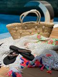Beach promotion Box 4 items only (slipper/beach coverup/swim suite/bag/earings)