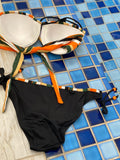 Orange Stripe Bra Black Undies Swim Suit