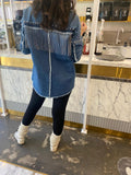 جاكيت جينز قصير Fringe Trim Denim jacket