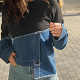Denim Asymmtrical Sweatshirt  O Neck قمم