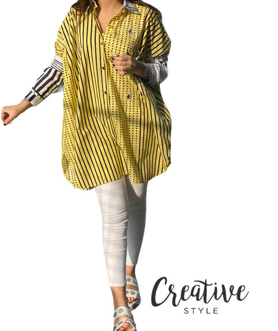قميص قطني صيفي مع كرستال Yellow geometric Shirt with embellishments CSSSF08/21016
