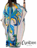 فستان حرير صيفي Poly Cotton Printed Kaftan CSSSF01/21026