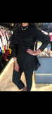 FLORAL LACE BLACK PEPLUM TOP قمم