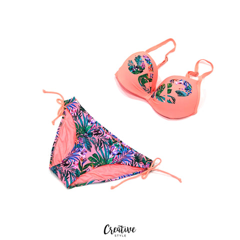 بيكيني زهري /  قطعتين Leaf Print Two Pc Swim Suit