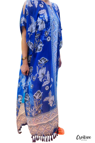 Blue Cold Shoulder Maxi  ثياب البحر