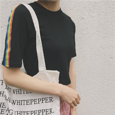 Rainbow Stripe Sleeve Crop Top  - Equally Younique LGBTQ Shop