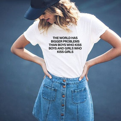 """The World Has Bigger Problems"" Short-Sleeve Unisex T-Shirt  - Equally Younique LGBTQ Shop"