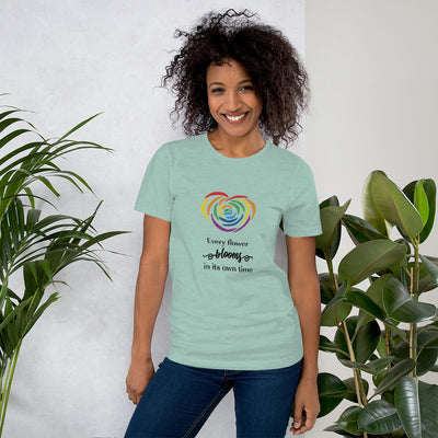 """Every Flower Blooms"" Short-Sleeve Unisex T-Shirt Heather Prism Dusty Blue / XS - Equally Younique LGBTQ Shop"