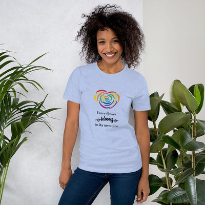 """Every Flower Blooms"" Short-Sleeve Unisex T-Shirt Heather Blue / S - Equally Younique LGBTQ Shop"