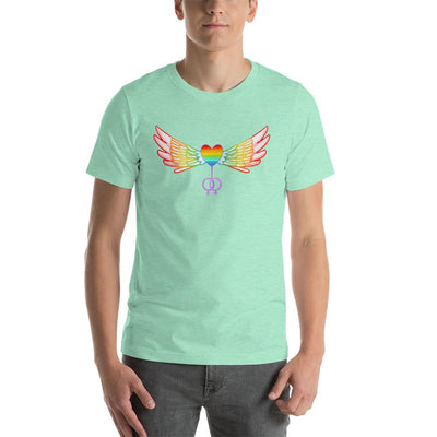 """Gay Pride Heart With Wings"" Short-Sleeve T-Shirt Heather Mint / S - Equally Younique LGBTQ Shop"