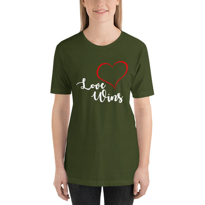 """Love Wins"" Short-Sleeve Unisex T-Shirt Olive / S - Equally Younique LGBTQ Shop"